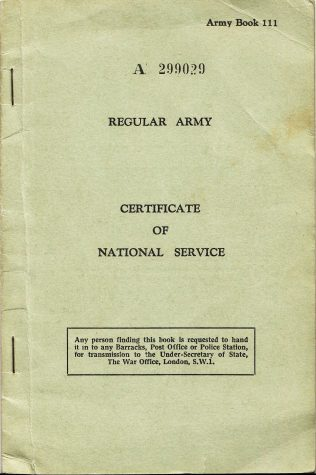 Cyril Brazier's National Service Certificate