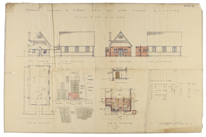 P154/8 CW3/10 Plan of proposed extension of church hall | Gloucestershire Archives