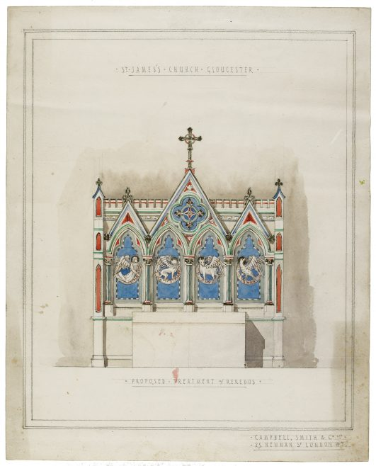 P154/8 CW3/2 Proposed treatment of Reredos, 1886 | Gloucestershire Archives
