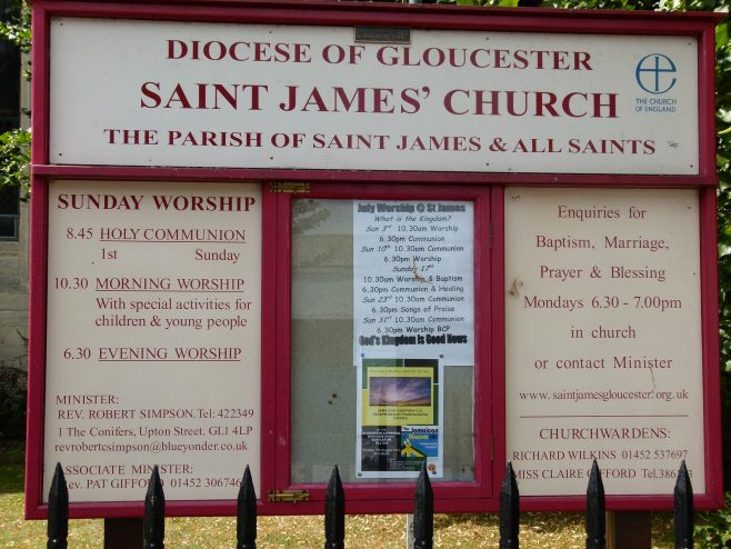 St James' Church notice board | Dave Bailes